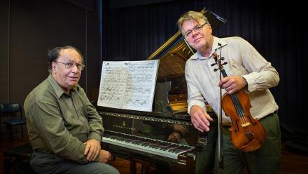 Emeritus Professor Larry Sitsky, left, with Tor Frømyhr, right. Image: Stuart Hay.