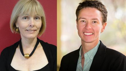 (L to R:) Dean of ANU College of Business and Economics, Professor Shirley Leitch; and Dean of ANU College of Engineering and Computer Sciences, Professor Elanor Huntington.