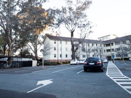 University House entrance parking spaces