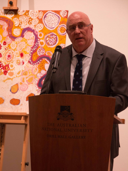 Craig Edwards speaks about the donation at Drill Hall Gallery