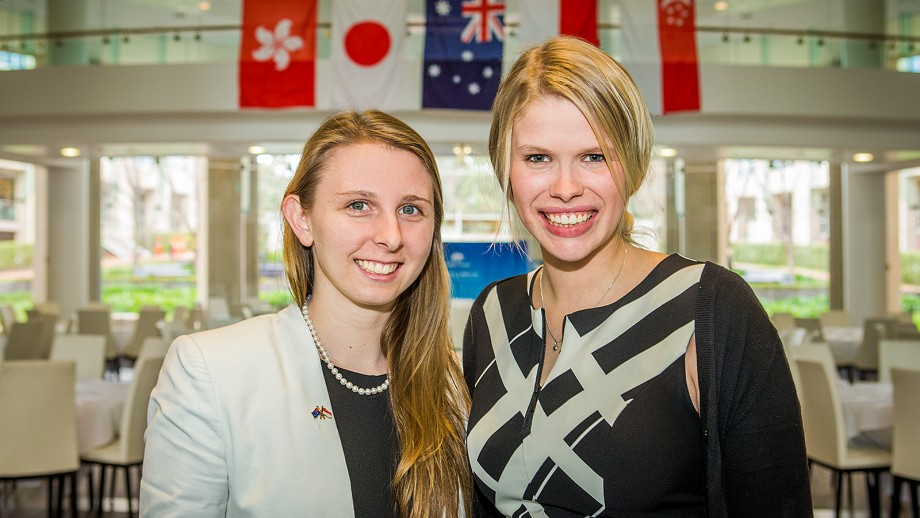 New Colombo Plan scholars Rebecca Wardell (left) and Emma Roberts. Nicholas Horton is already overseas.