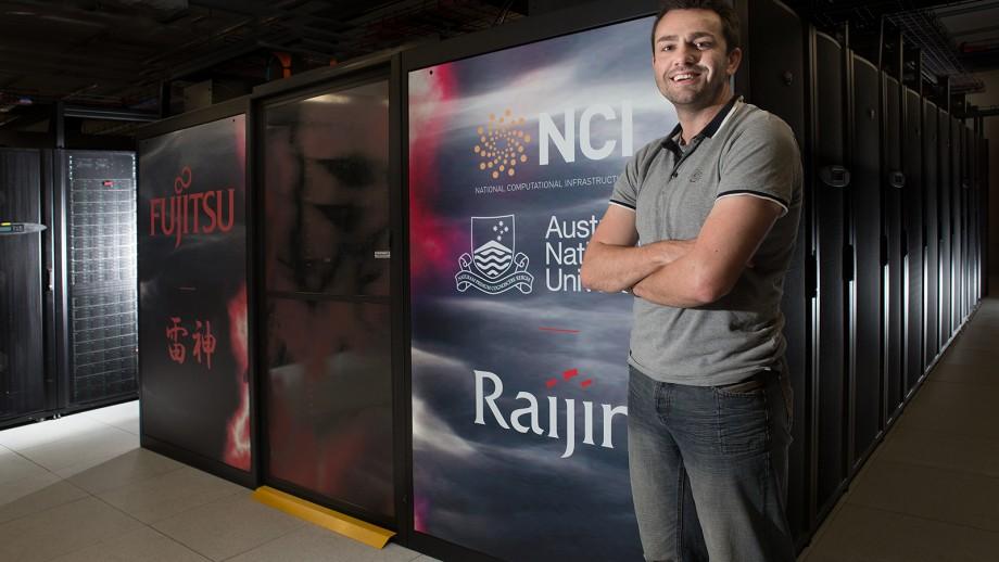 Dr Rhodri Davies at the Raijin Supercomputer.