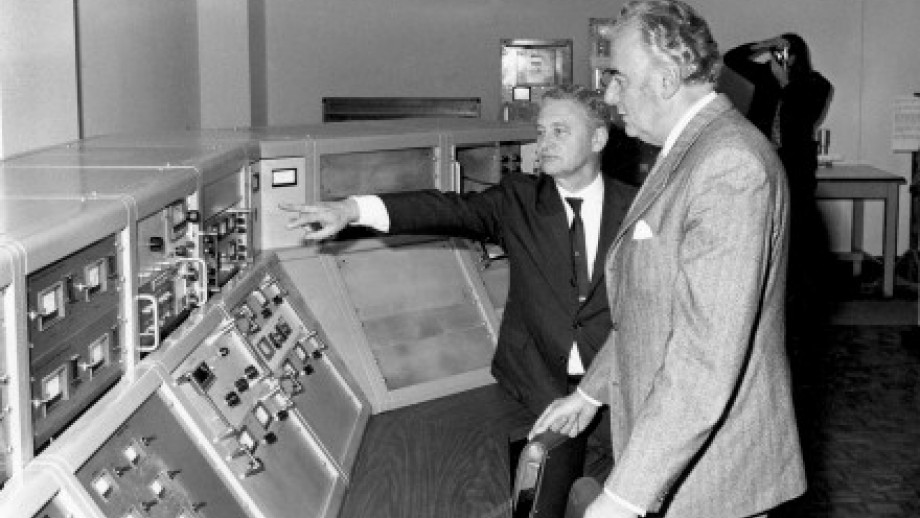 Gough Whitlam with Sir Ernest Titterton. Image: ANU Archives.