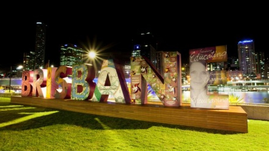 Photo of Brisbane sign spelt out with decorated letters