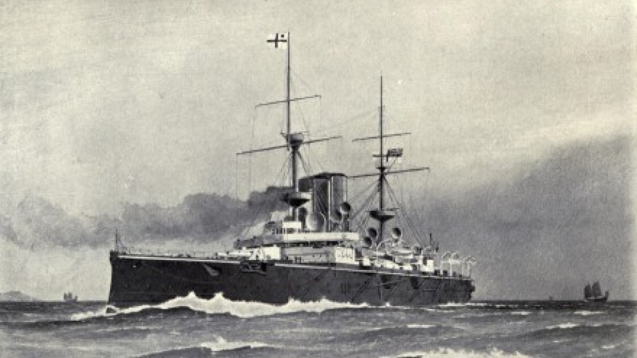 Painting of Royal Navy cargo ship from the First World War