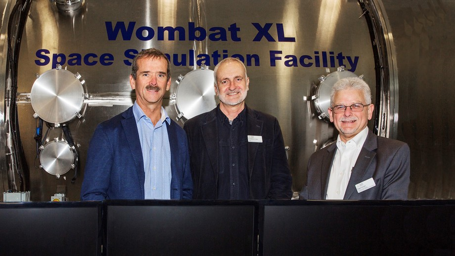 Astronaut Chris Hadfield (l) with Professor Matthew Colless and Dr Roger Franzen from the Research School of Astronomy and Astrophysics.