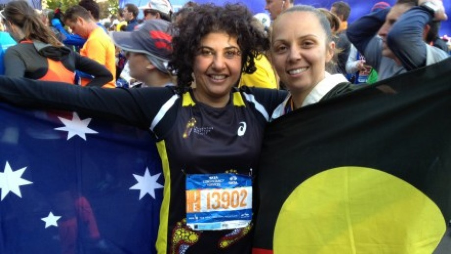 Ayesha Razzaq (left) with a member of the Indigenous Marathon Project team at the New York Marathon. Image supplied.