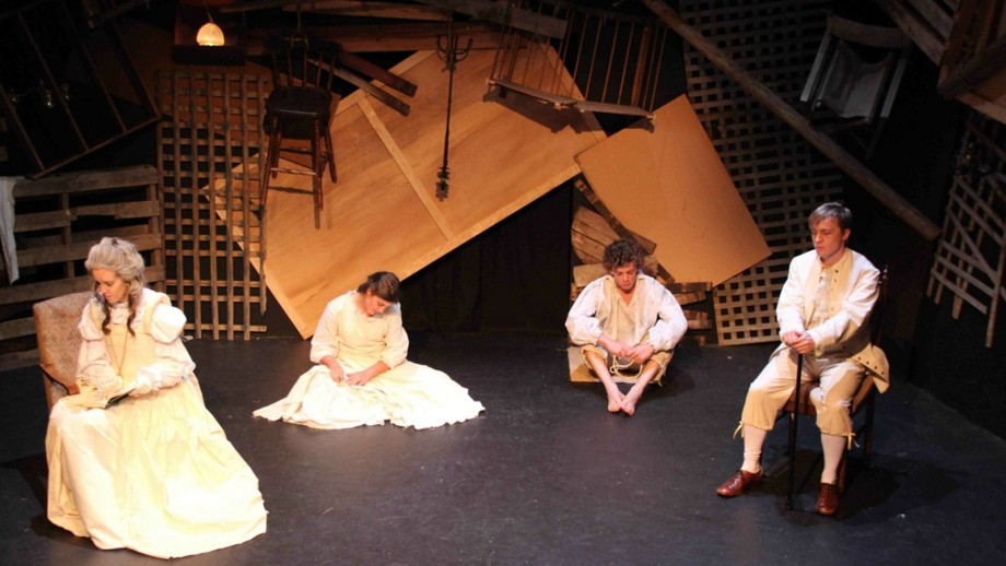 Sarah Heywood, Cheski Walker, Lewis McDonald and Andrew Eddey on stage during the production