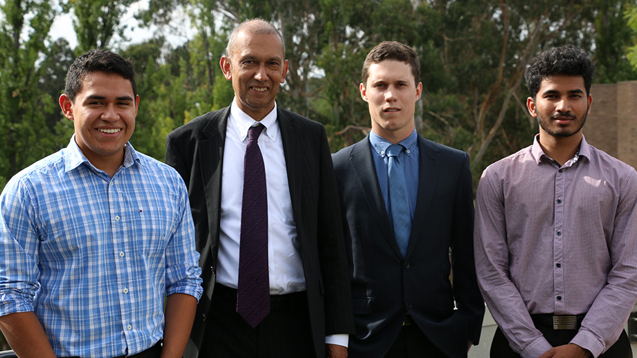 From left to right: Oscar Gonzalez-Minero (recipient of the Abey Family Foundation Award), Arun Abey, Aaron Marshallsea-Dutton (recipient of the Abey Family Foundation Award) and Keerthanan Rathakumar (recipient of the Abey Family Foundation Award)