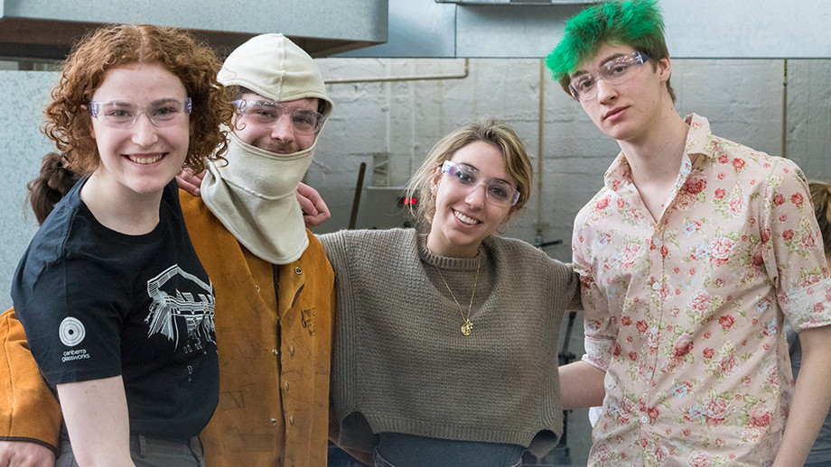 ANU School of Art and Design students working in the Glass Workshop (Photo: Adam Spence)