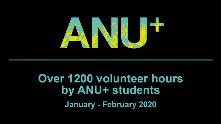 1200 volunteer hours by ANU+ students January to February