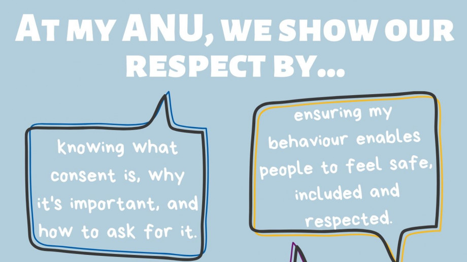 At my ANU, we show our respect by...knowing what consent is, why it's important and how to ask for it, believing and supporting victims of sexual assault or sexual harassment, ensuring my behaviour enables people to feel safe, included and respected