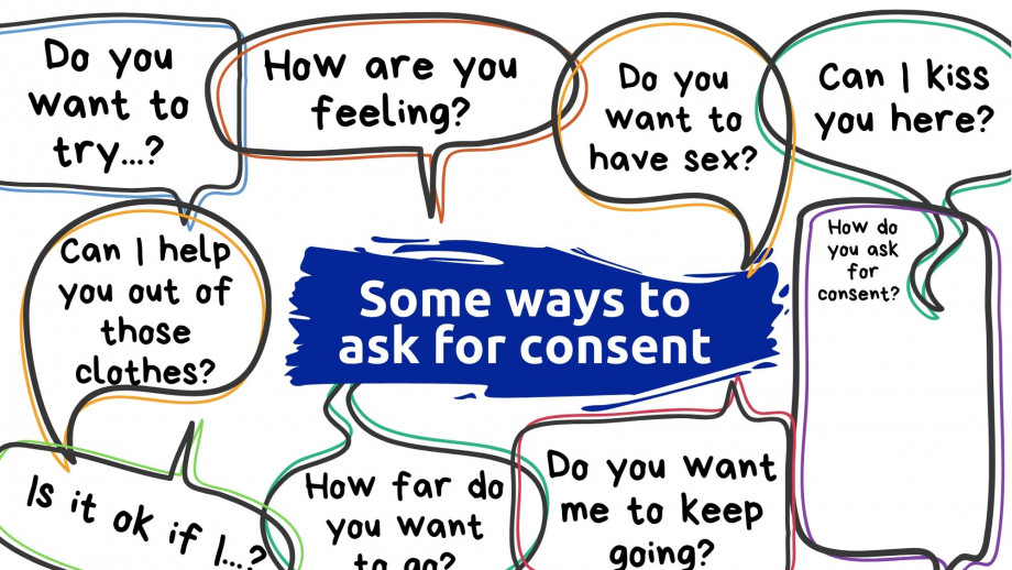 Some ways to ask for consent: do you want to try..., how are you feeling? Do you want to have sex? Can I kiss you here?