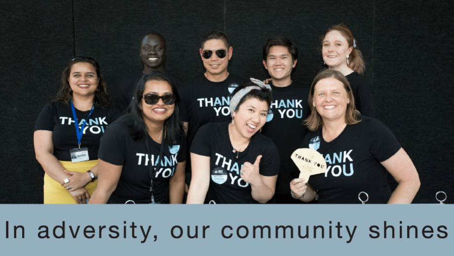 """Group of ANU staff in """"Thank You"""" t-shirts"""