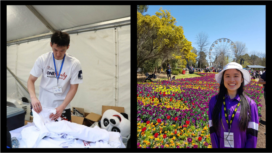 Students volunteering floriade