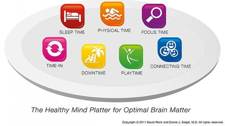 The healthy mind platter for optimal brain matter - sleep time, physical time, focus time, time in, downtime, play time, connecting time.