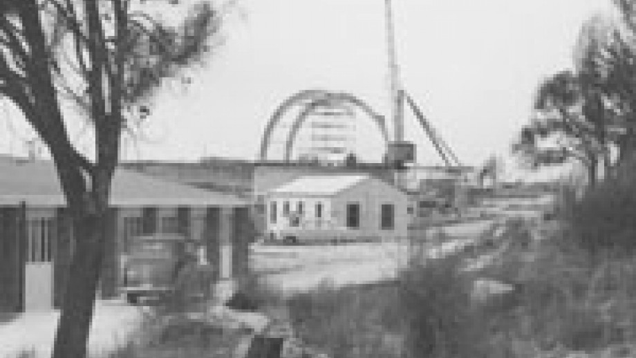 Construction of 74 inch dome (Wehner Collection, Mt Stromlo Archives)