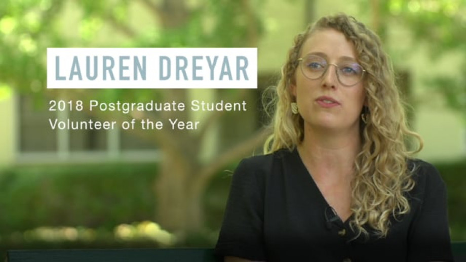 Lauren Dreyar - 2019 Student Volunteer of the Year (Postgraduate)