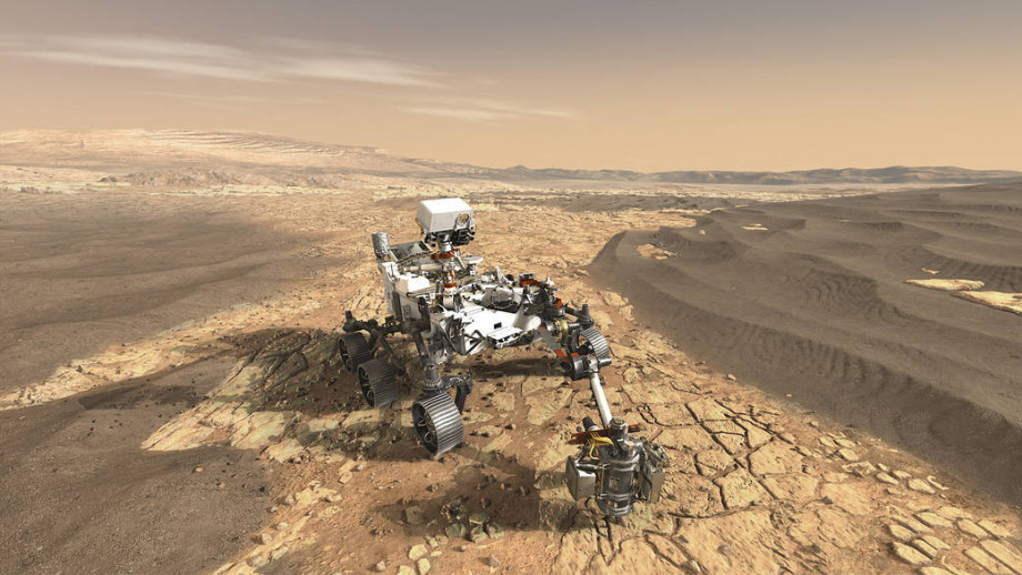 Artist's impression of NASA Mars 2020 rover - a mission that will aim to find signs of habitable conditions on Mars in the past, as well as hints of past microbial life. Image credit: NASA/JPL-Caltech.