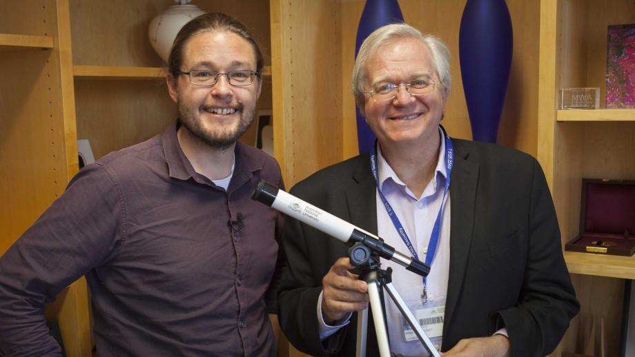 Dr Brad Tucker with Professor Brian Schmidt. Image credit: Jack Fox, ANU