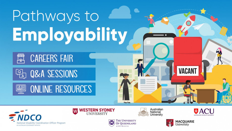 Online August and September 2020. Careers Fair, Q&A sessions, Online Resources. For more information or to register visit: http://bit.ly/p2e2020. Partner Logos: National Disability Coordination Officer Program, Western Sydney University, UQ, ANU, ACU, Mac
