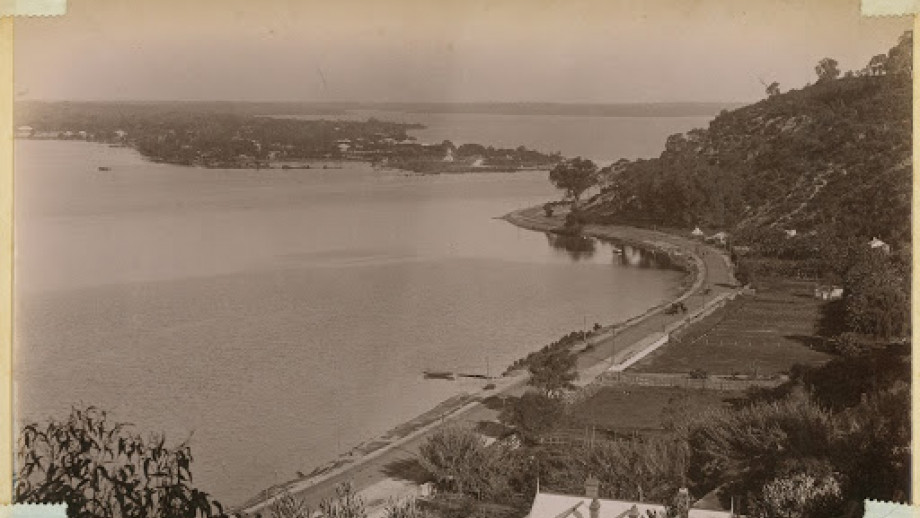 View from an elevated point of the Swan River, Perth, in the 1880s.