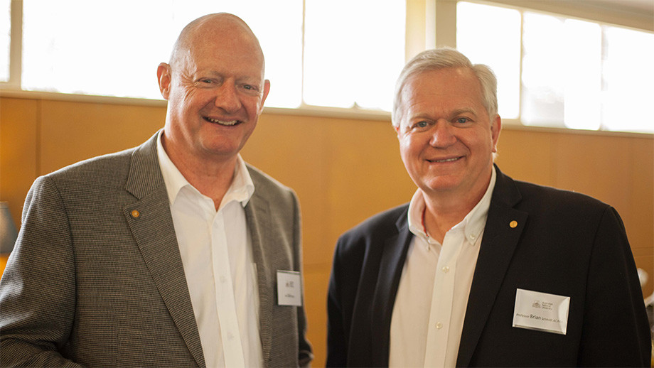 Olaf Moon (left) with the ANU Vice-Chancellor, Brian Schmidt