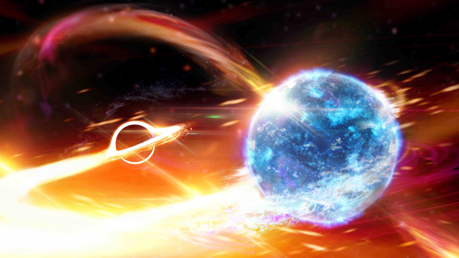 An artist's simulation of a black hole swallowing a neutron star, like Pac-man. Image: supplied