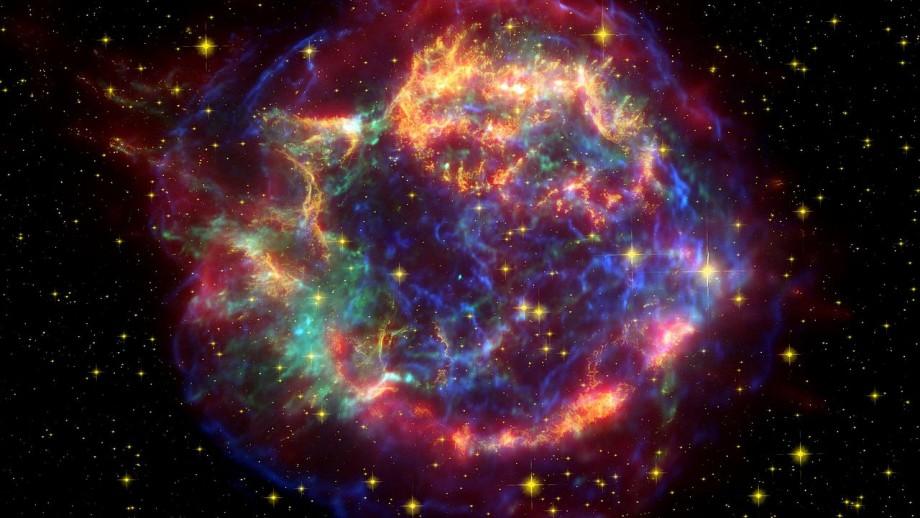 False color image of Cassiopeia A supernova remnant. NASA/JPL-Caltech