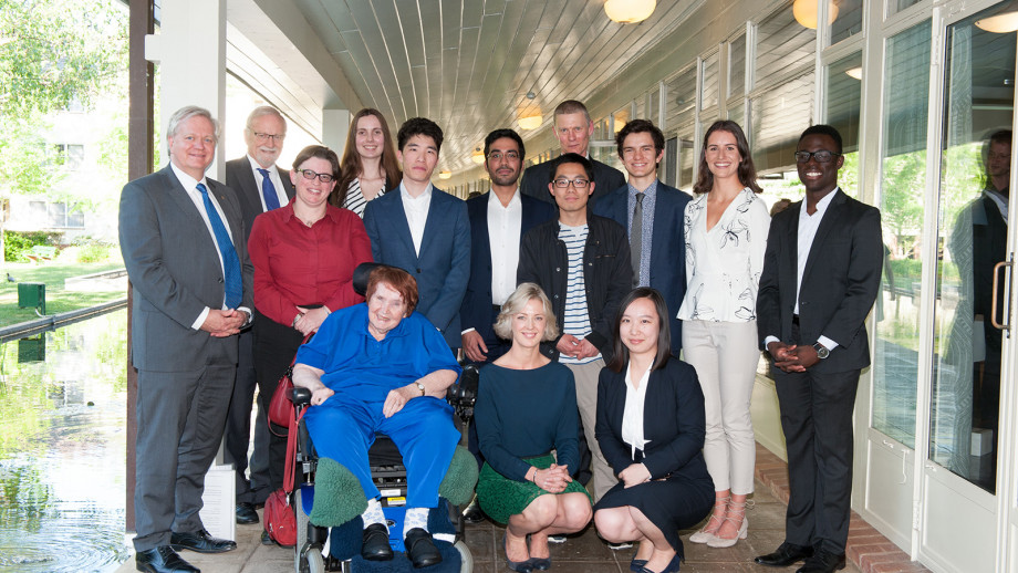 Vice-Chancellor Professor Brian Schmidt and Chancellor Professor the Hon Gareth Evans with Claire Clark, Nicola Clark and Students participating in the Student Managed Fund Program.