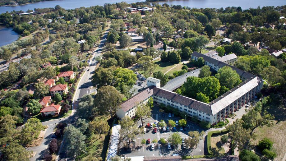 Aerial shot of the ANU campus looking towards Liversidge Street