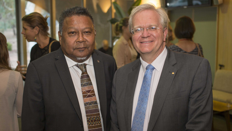Peter Yu with ANU Vice Chancellor Brian Schmidt at the 2018 ANU Reconciliation Lecture. Picture: Lannon Harley ANU