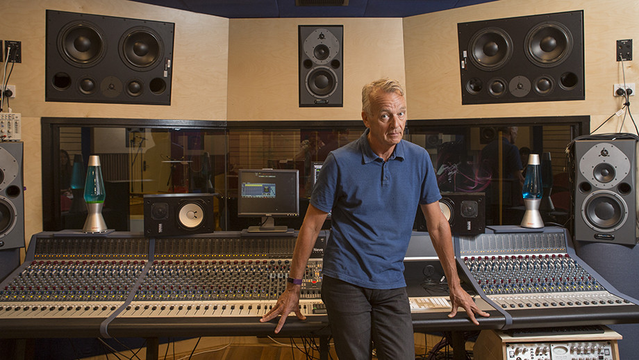 Mark Opitz in the ANU Recording Studio. Image: Lannon Harley