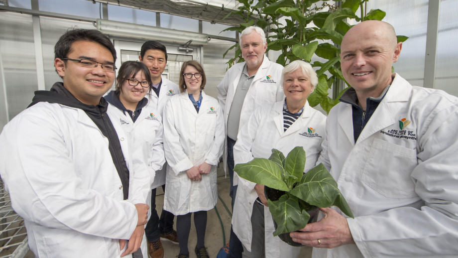 From left to right is Nghiem D. Hguyen, Eng Kee Au, Wei Yih Hee, Eiri Heyno, Professor Dean Price, Professor Susanne van Caemmerer and Research Fellow Dr Ben Long. Credit: ANU