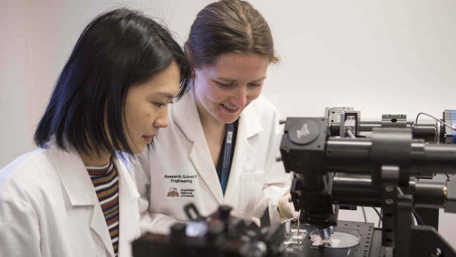 PhD scholar Sherry He, from the ANU Research School of Engineering, and Dr Samantha Montague, from the John Curtin School of Medical Research at ANU, work with their diagnostic device that reveals the formation of blood clots in patients. Credit: ANU