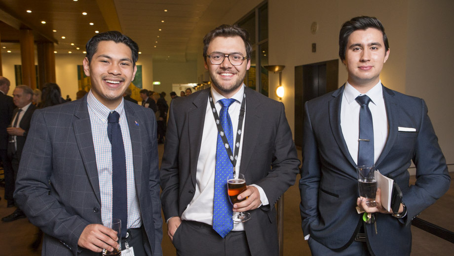 Dominic Kasan, Donald Ricthie and Ayrton Kiraly during the 25th Anniversary celebration of the Australian National Internship Program at Parliament House. Photo by Lannon Harley, ANU.