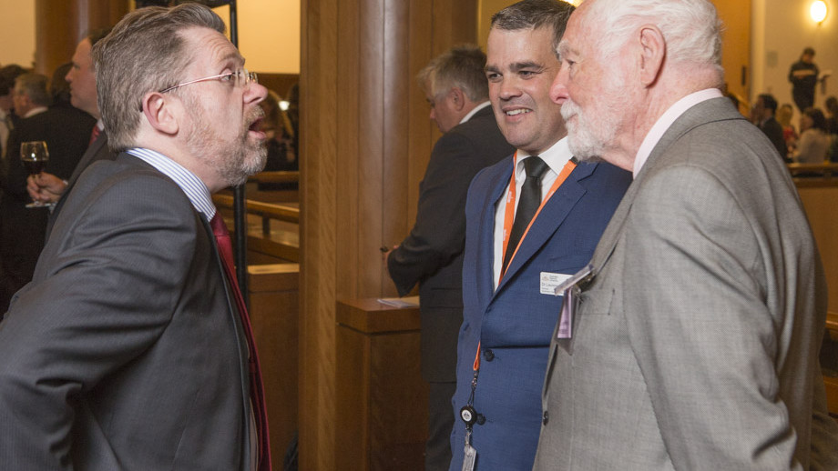 Senator Scott Ryan, President of the Senate, Laurence Brown and John Power during the 25th Anniversary celebration of the Australian National Internship Program at Parliament House. Photo by Lannon Harley, ANU.