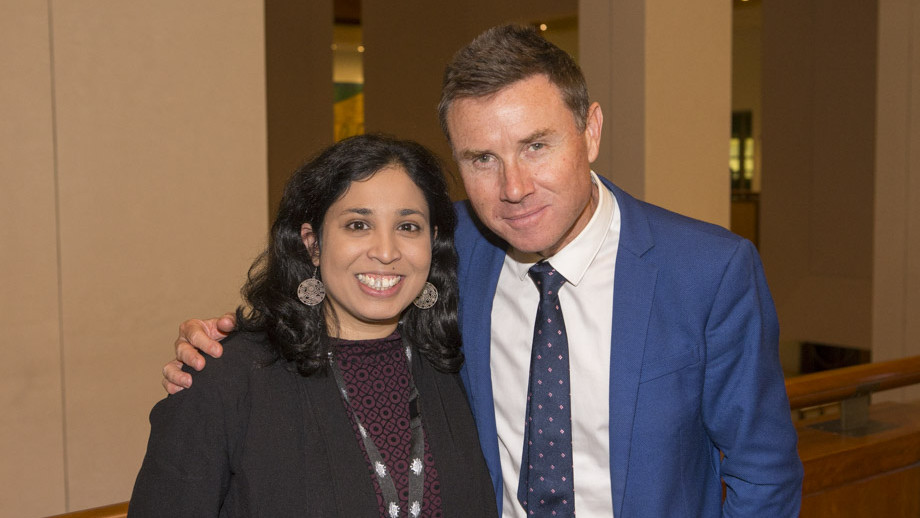 Caroline Rozano with Andrew Laming MP during the 25th Anniversary celebration of the Australian National Internship Program at Parliament House. Photo by Lannon Harley, ANU.