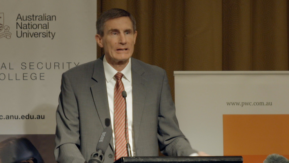 Australia's Chief of Defence Force, General Angus Campbell speaks at the 2018 Women in National Security conference. Image: ANU.