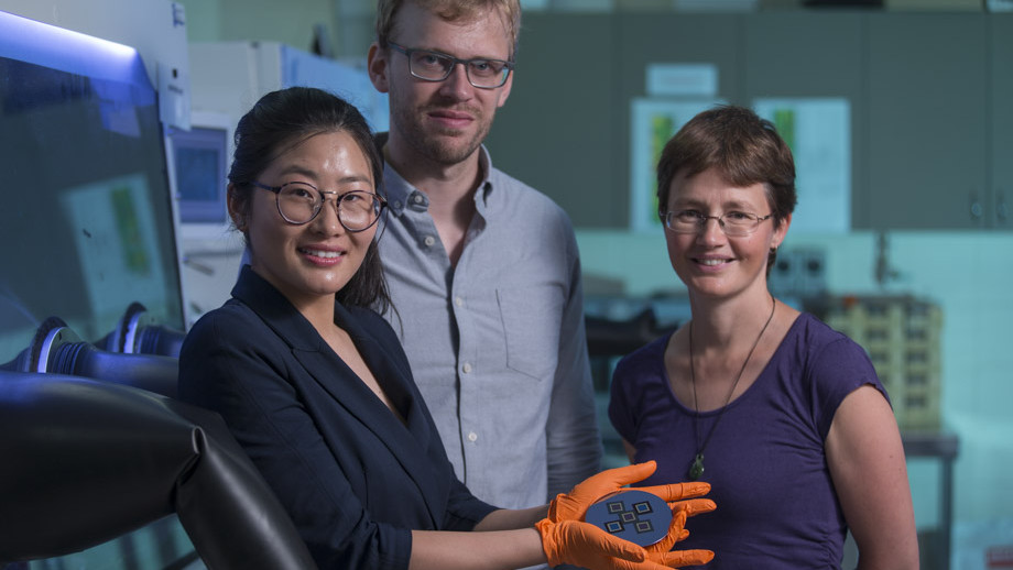 Dr Heping Shen, Dr Daniel Jacobs and Professor Kylie Catchpole from the ANU School of Engineering. Photo: Lannon Harley, ANU