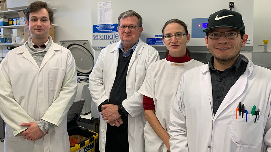 Associate Professor Aude Fahrer (centre right) with John Chapuis (centre left), Lea's husband, and her research team at the Linnaeus Building Lab