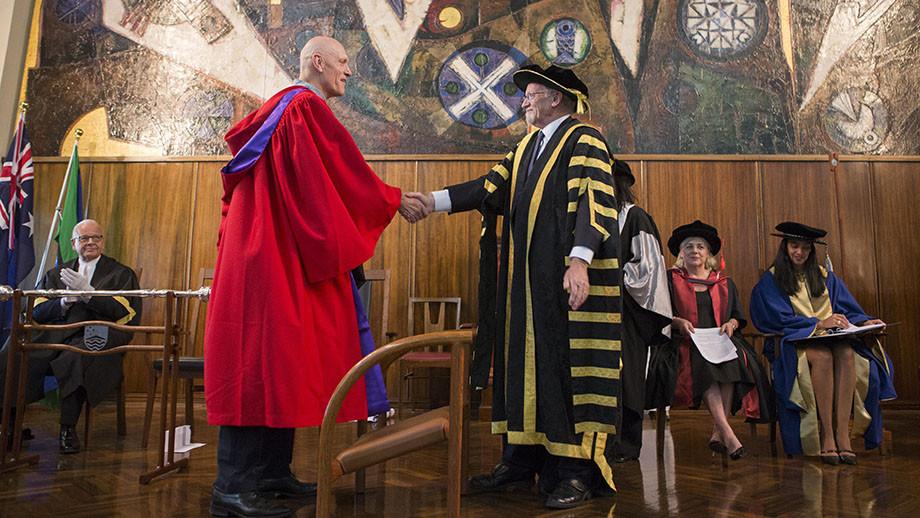 ANU Chancellor Professor Gareth Evans confers Hon Peter Garrett to the degree Doctor of Laws honoris causa