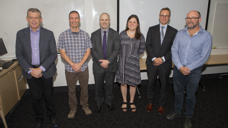 Prof Peter Nelson, Macquarie Uni, Dr Darren Sinclair, UC, First Assistant Secretary, Department of Environment, James Tregurtha, Dr Larissa Schneider, ANU, CAP Assoc Dean of Research, Llewelyn Hughes and ANU Prof Simon Haberle who all spoke at the launch