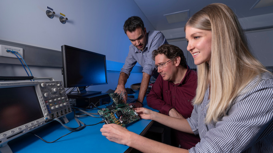 Lead Engineer Dr James Gilbert, Professor Rob Sharp and Instrumentation Engineer Shanae King, from the ANU Research School of Astronomy and Astrophysics. Image credit: Lannon Harley, ANU