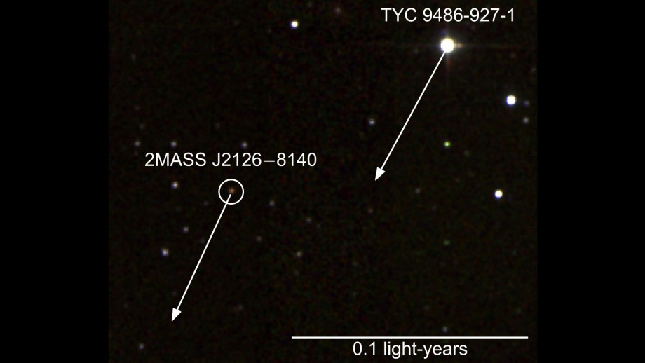 False colour infrared image. Arrows show motion over next 1,000 years. 2MASS/Simon Murphy