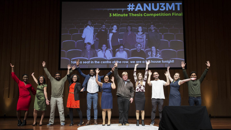 The finalists of the 2019 ANU 3MT (Three Minute Thesis) competition. Photo courtesy ANU Research Services.