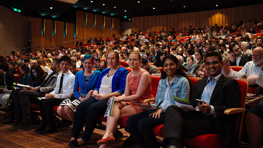 The 2015 ANU 3MT finalists (L to R): Ronald Yu (CMBE); Kiara Bruggeman (CECS); Hannah James (CPMS); Ashley Orr (CASS); Suryashree Aniyan (CPMS); and Arjuna Mohottala (CAP). Photo by Adam Da Cruz, ANU.