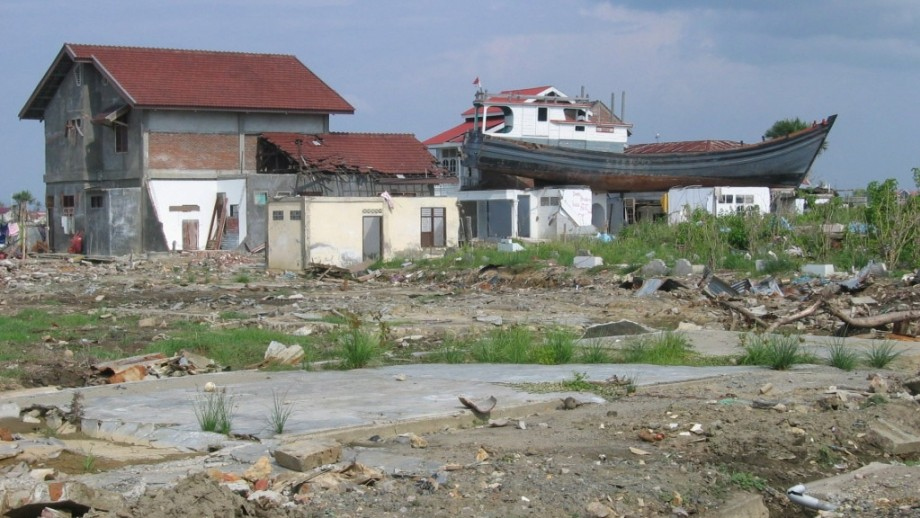 A fishing boat on top of a building in Aceh after the 2004 boxing Day tsunami.