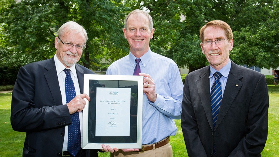 ANU Chancellor Professor Gareth Evans, Alumnus of the Year for Philanthropy Mr Graham Tuckwell and Vice-Chancellor Professor Ian Young. Photo by Stuart Hay, ANU.