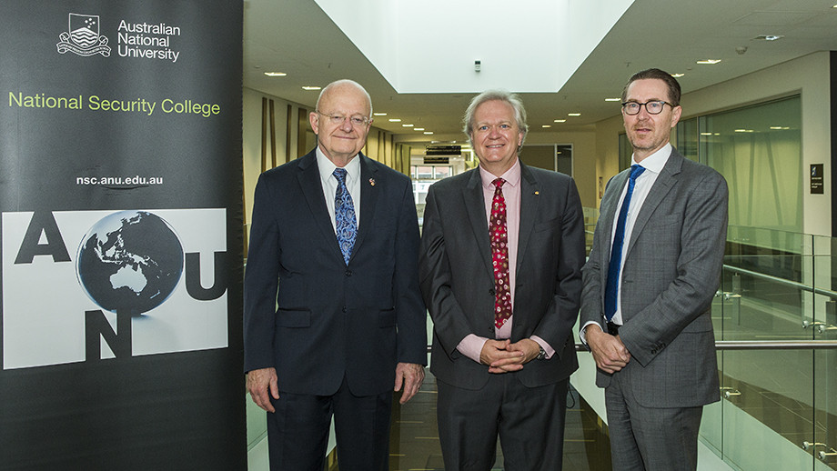 (l to r) James R Clapper, ANU VC Professor Brian Schmidt and NSC Head Professor Rory Medcalf. Photo by Stuart Hay.
